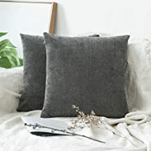 MIULEE Pack of 2 Decorative Throw Pillow Covers Square Soft Solid Chenille Velvet Cushion Cover Pillow Case for Sofa Bedroom Car 18x18 Inch 45x45 cm, Grey