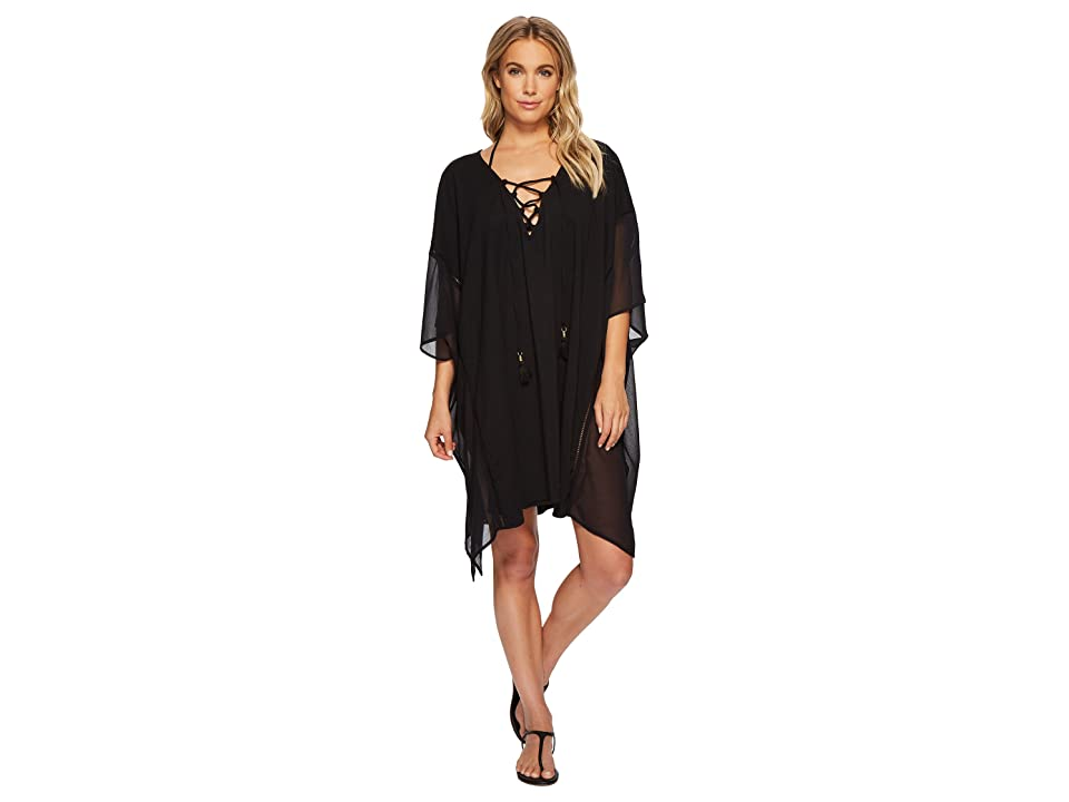 Tommy Bahama Cotton Modal Lace-Up Tunic Cover-Up (Black) Women