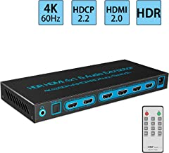 4K@60Hz HDMI Switch 4x1 with Optical SPDIF & Headphone Audio Out, FiveHome 4 in 1 Out HDMI Audio Extractor Splitter with Remote, Supports ARC, 4Kx2K, Ultra HD