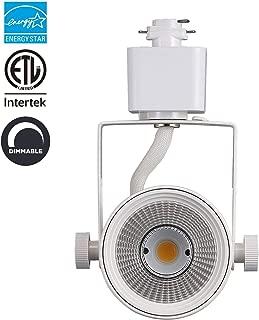 LED Track Lighting Head 8W 600LM 3000K, CRI90+ Warm White Dimmable Adjustable Tilt Angle 90° Fixture Energy Star & ETL for Wall Art Exhibition Retail Round Lighting White Finish