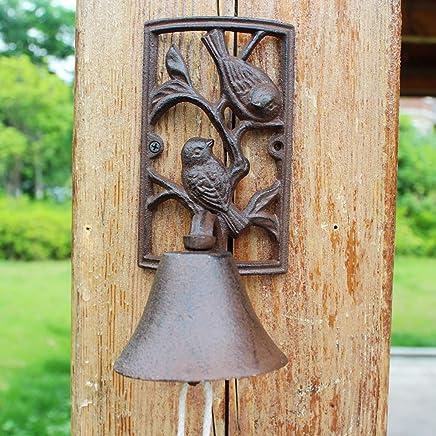 TLMY ヨーロッパとアメリカの産業用風鋳鉄工芸品湾曲したダブル鳥ドアベルハンドベル家の装飾壁の装飾11×6×23センチ レトロなドアベル