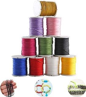 Pulluo 10 Rollen Nylonfaden Nylonschnur 0.8 mm X 10 m Polyesterfaden Baumwollschnur Bunte Schnur Perlenschnur für Kinder DIY Armband Halskette Schmuck Handwerk Bastel