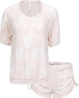 Women's Hacci Raglan Sleeve Top and Short Pajama Set