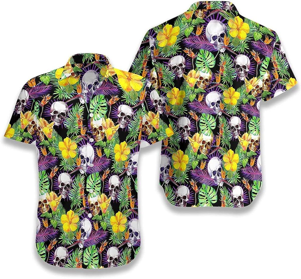 HYPERFAVOR Skull Shirts for Men - Skull Tropical Pattern - Casual Button-Down Skull Hawaiian Shirt