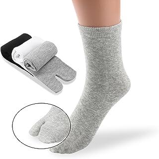 PIXNOR, PIXNOR - 3 pares de calcetines con punta Tabi de algodón elástico (color blanco, gris y negro)