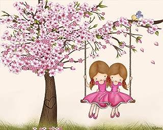 Cherry Blossom Twin Sisters Room Wall Art Kids Bedroom Drawing Nursery Decor Brunette Girls Playroom Poster 8x10 Unframed Print