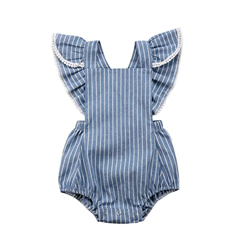 ba85020134c2 Listogether Summer Newborn Kids Baby Girls Cute Stripe Tassels Romper  Bodysuit Jumpsuit Clothes Outfits Grey