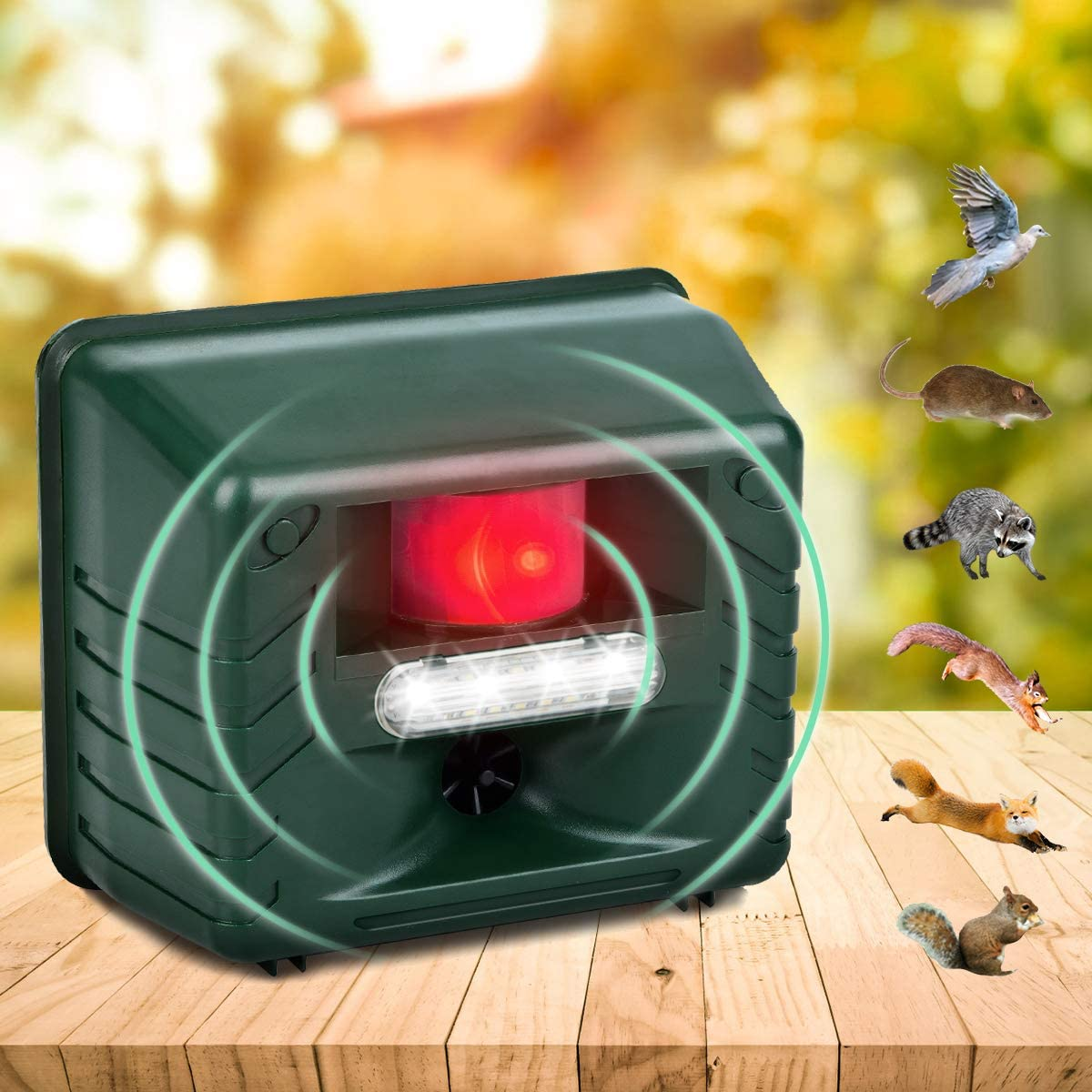 Allinall Outdoor Animal Repeller,Ultrasonic Pest Animal Repellent Garden Dog Car Bird Repellent Device,Yard Guard Mice Rat Rodent Fox Repellent Bird Deterrent Devices with LED Flash Lights and Alarm