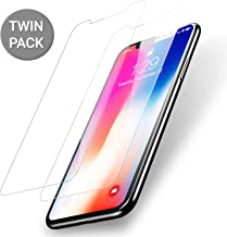 Olixar for iPhone X Screen Protector - Case Friendly Tempered Glass - 9H Rated - Shock Protection - Easy Application, Card and Cleaning Cloth Included - 2 Pack