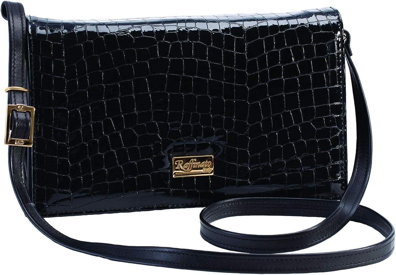 Stauer Women's Nicola Italian Black Leather Bag