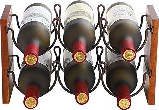 Fox Flower 2 Tier Wine Rack, Tabletop Wine Holder Freestanding Wine Storage with Metal Wood Frame Countertop Wine Shelf for Home Bar Cabinet Pantry, 6 Bottles