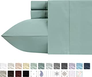 400-Thread-Count 100% Pure Cotton Sheets - 4-Piece Green Sage King Sheet Set Long-Staple Combed Cotton Bed Sheets Breathable Sateen Weave Flat Sheets Fits Mattress Upto 18'' Deep Pocket