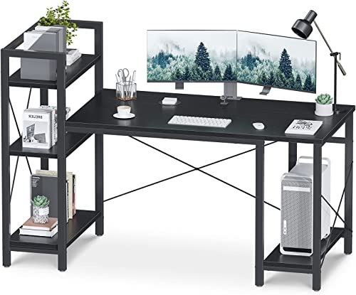 new arrival ODK Extra Large high quality 59in Computer Desk, 3 Tier Storage Shelves & CPU Stand outlet online sale Home Office Desk, Sturdy & Easy to Assembly Writing Study Desk outlet sale