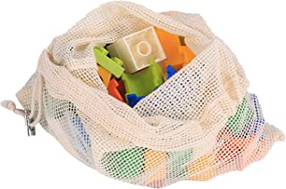 Reusable Produce Bags, Organic Cotton Mesh Bulk Sachet Bags for Grocery Shopping Laundry Food or Storage with Tare Weight Tags, Double-Stitched Seams, Biodegradable, Eco-Friendly,6 Pack Large 17