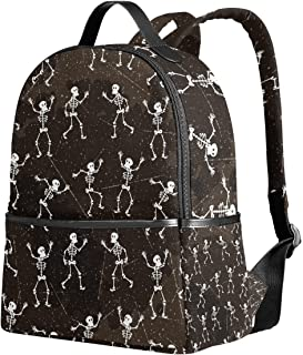 YZGO Halloween Dancing Skeletons School Backpack for Boys Girls Dia De Los Muertos Skull..