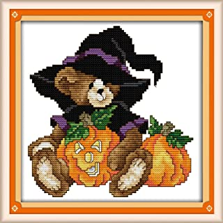 AngelGift Needlecrafts Stamped Counted Cross Stitch Set, Animal - Halloween Pumpkin Magic Cubs
