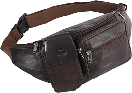 Stylish Real Leather Brown Waist Bag Elegant Style Travel Pouch Passport Holder With Adjustable Strap 1276 BRN