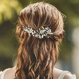 Aukmla Bride Wedding Hair Vines Flower Bridal Hair Accessories Leaves Hair Piece for Bride and Bridesmaids HV-22 (Silver)