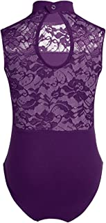 inhzoy Kids Girl's Lace Hollow High Neck Ballet Dance Leotard Tops Athletic Sports Outfit