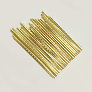 Vencetmat 19Pcs Brass Straight Frets for Classic Guitar Fingerboard Fret Wire Replacing Gold