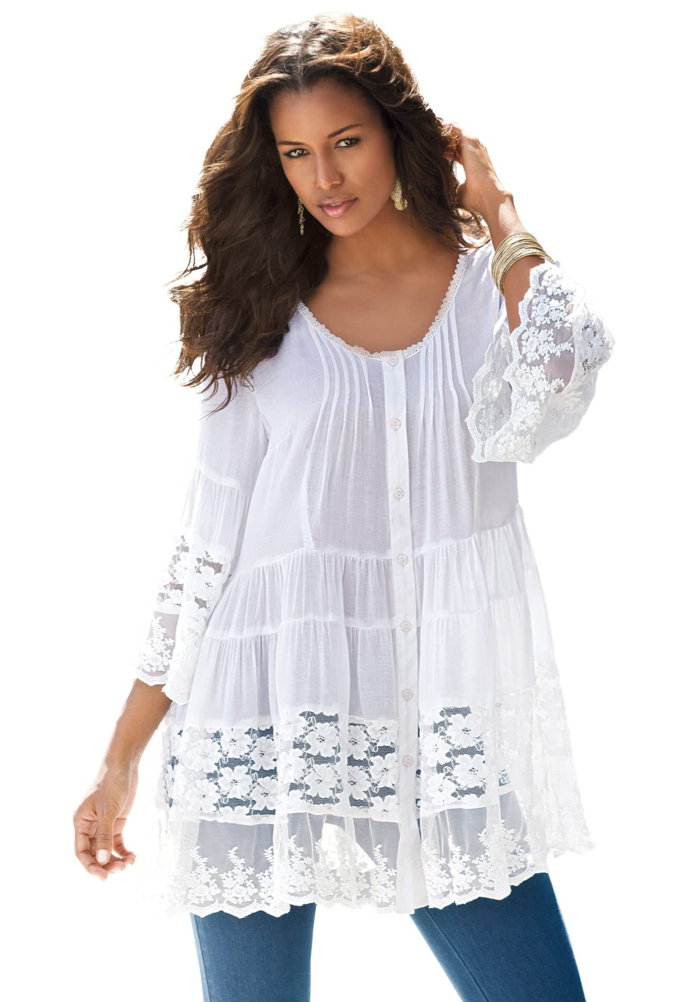Roaman's Women's Plus Size Illusion Lace Big Shirt Long Shirt Blouse