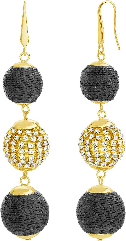 Steve Madden Yellow Gold-Toned Black Rope Rhinestone Ball Drop Earrings for Women, one size (SME502357BK)