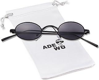 ADEWU - Gafas de sol redondas pequeñas y redondas con estructura de metal delgado para ir de compras con fiesta unisex