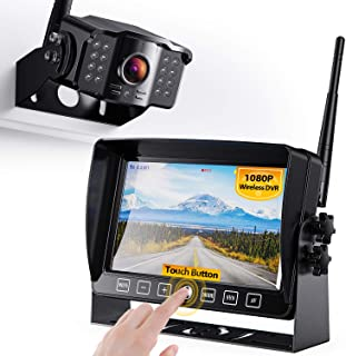 """$169 » Xroose Wireless Backup Camera with 7"""" DVR Monitor for RV Trailer, 1080P FHD Back Up Cam with Extra Long Range Signal + Tou..."""