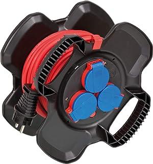 Brennenstuhl Gummi-Kabelhaspel X-Gum IP44 / Kabeltrommel für die Baustelle aus Gummi, 10m, ständiger Einsatz im Außenbereich, Spezial-Gummimischung