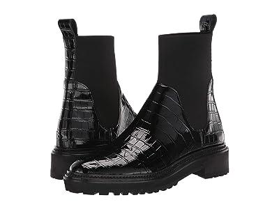 Loeffler Randall Bridget Chelsea Combat Boot (Black Shiny Embossed Croc/Flyknit) Women