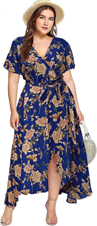 Milumia Plus Size Women Empire Waist Asymmetrical High Low Bohemian Maxi Dress