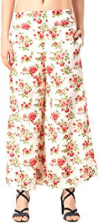 Fraulein Women's/Girls Palazzos RedRose Floral Printed Soft Crepe Flared Bottom Palazzos with One Pocket and Mesh Inner Li...
