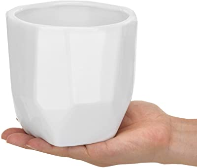 MyGift Set of 2 Geometric Faceted 5-Inch White Ceramic Mini Succulent Pots