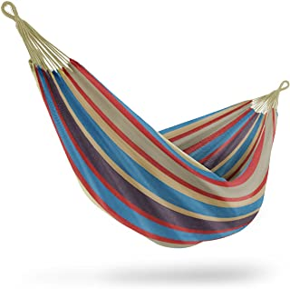 Best Sorbus Brazilian Double Hammock - Extra-Long Two Person Portable Hammock Bed for Indoor or Outdoor Spaces - Hanging Rope, Carrying Pouch Included (Blue/Sand/Purple/Red Stripes) Review