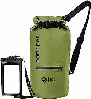 Earth Pak Dry Bag – wasserdichter Packsack mit Reißverschluss Tasche, Schultergurt und wasserfester Handyhülle – ideal beim Kajak Fahren, Camping, Angeln, Bootfahren und Rafting