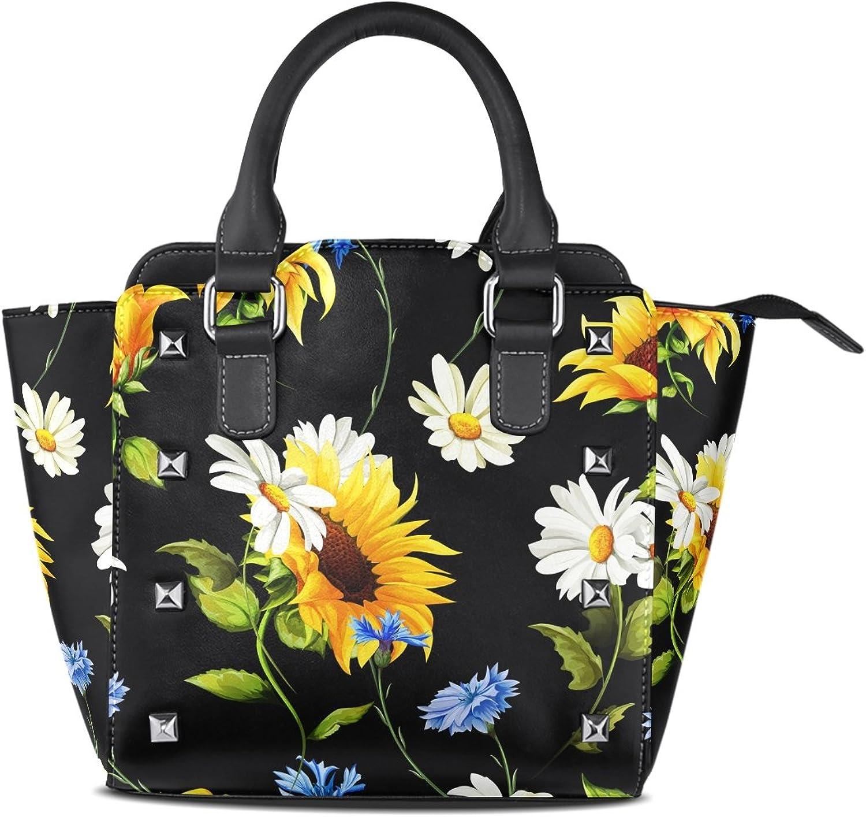 My Little Nest Women's Top Handle Satchel Handbag Sunflowers Black Ladies PU Leather Shoulder Bag Crossbody Bag