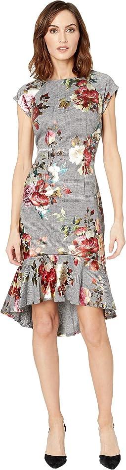 Cap Sleeve Menswear Floral Foil Printed Ruffle Hem Sheath