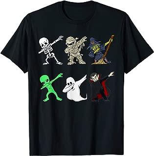 Dabbing Skeleton And Monsters Halloween Dracula T-Shirt