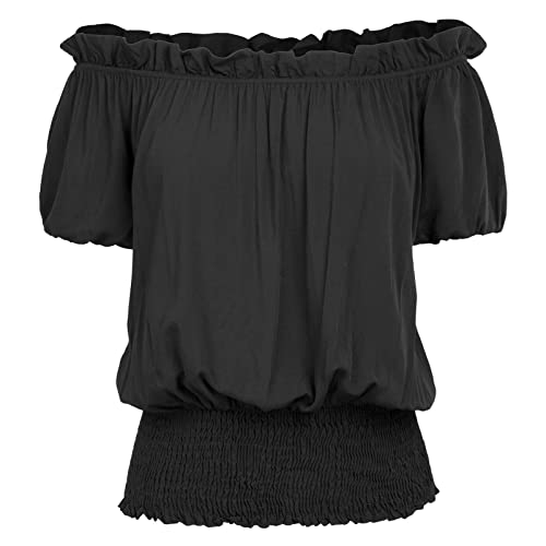 a787b4bc7 Kate Kasin Womens Short Sleeve Ruffle Off Shoulder Boho Blouse Top