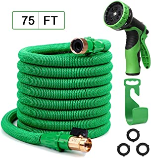 Yvan 75FT Expandable Garden Hose,Upgraded Leakproof Lightweight Flexible Water Hose with 9 Function Spray Hose Nozzle,Double Latex Core,3/4