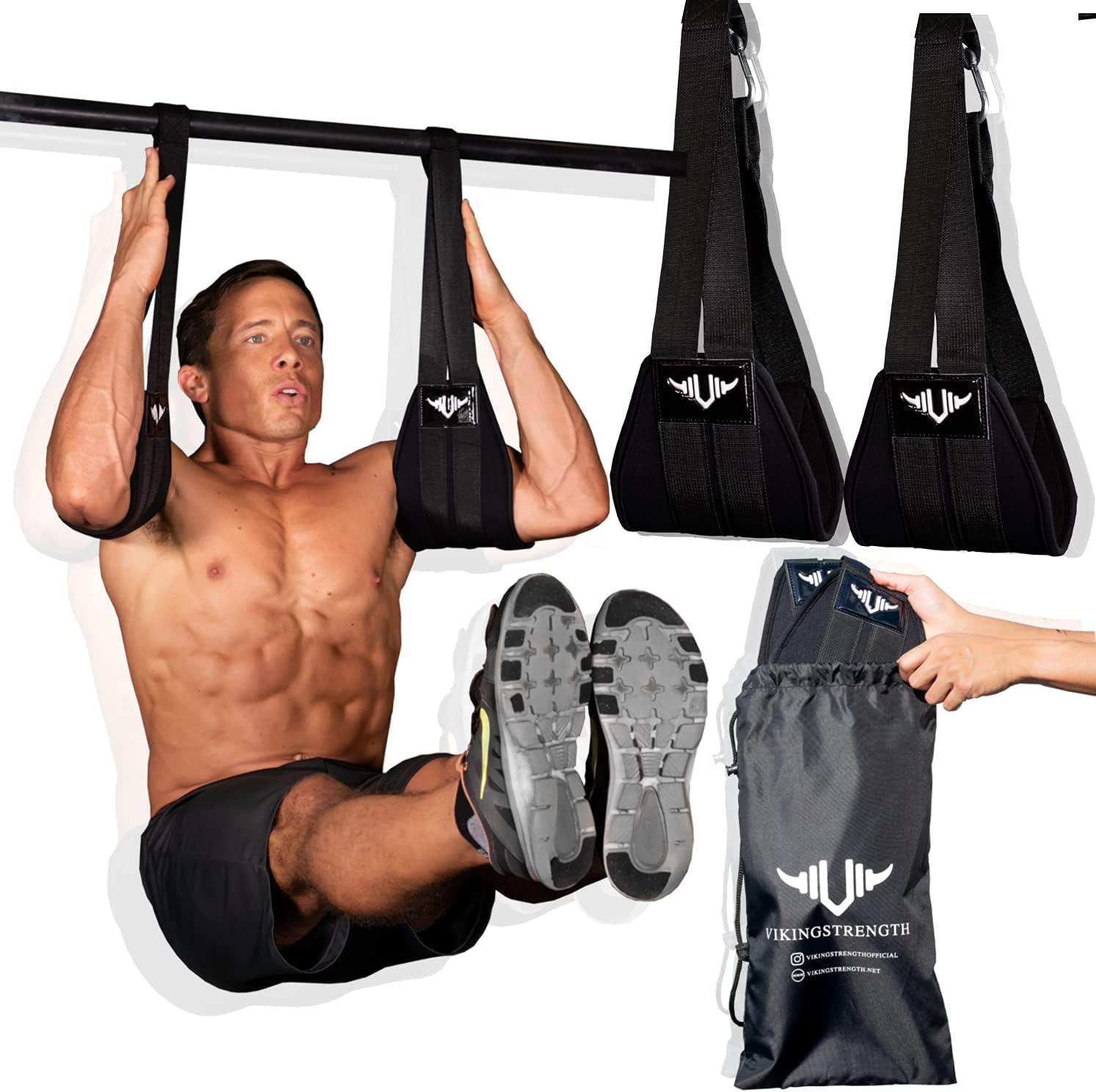Vikingstrength AB Straps for six Pack - Home Gym Exerciser Ab Slings Pair for Pull up bar - Hanging Leg Raiser Fitness - Workout Equipment for Men & Women + E-Book