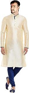 Lakkar Haveli Men's Silk Kurta Cream Color Shirt Casual Tunic Plus Size
