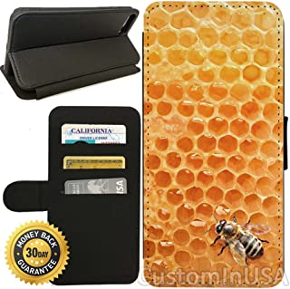 Flip Wallet Case for iPhone 7 Plus (Bumble Bee Honeycomb) with Adjustable Stand and 3 Card Holders | Shock Protection | Lightweight | by Innosub