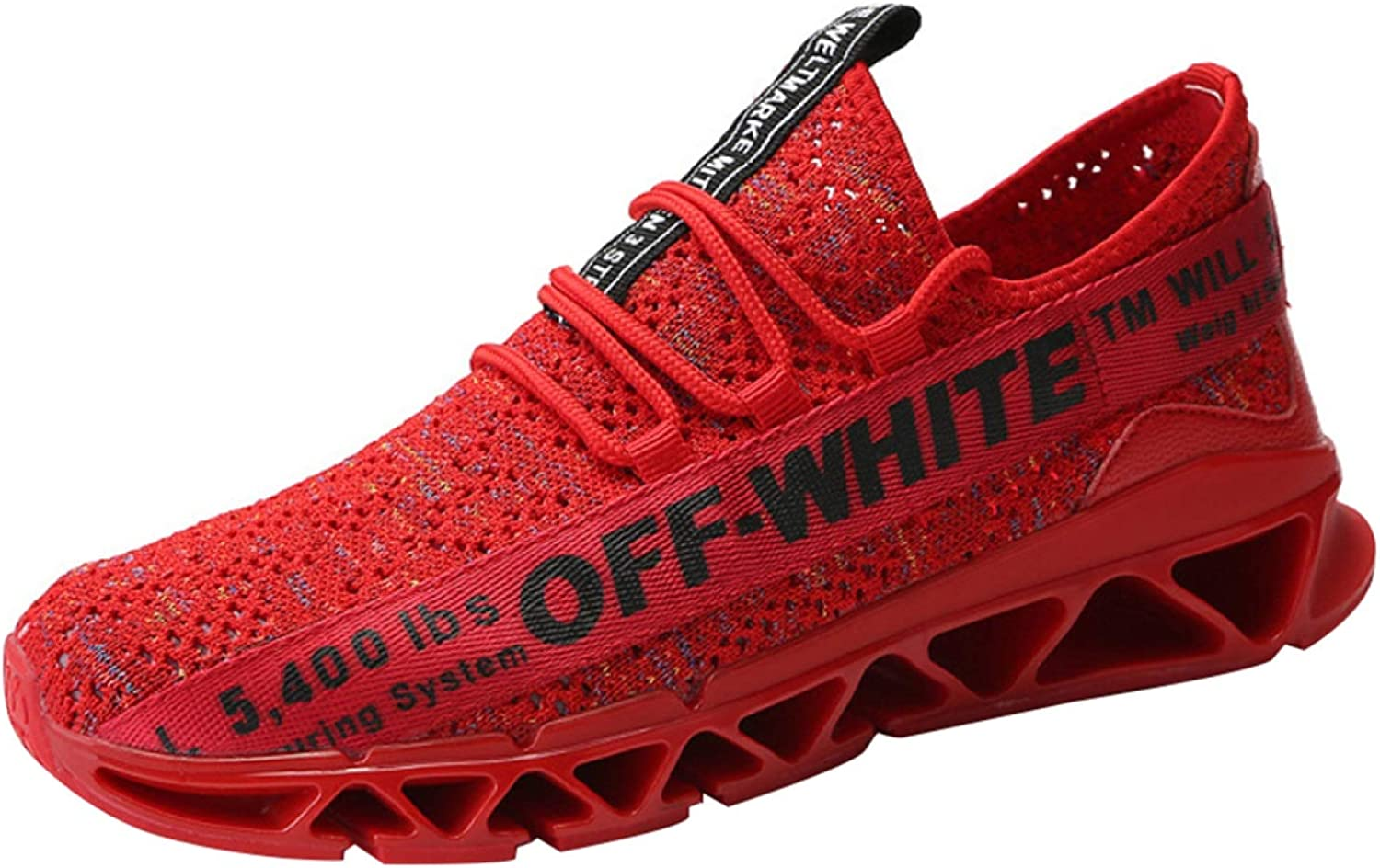 Mens shoes Casual Walking Sneakers Slip On Outdoor Sport shoes Running Four Seasons Leisure (color   Red2, Size   42EU)