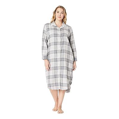 LAUREN Ralph Lauren Plus Size Long Sleeve Ballet Length Sleepshirt (Grey Plaid) Women