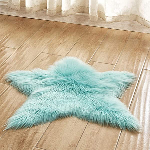 YanQxIzbiu Soft Carpets For Living Room Star Shape Plush Area Rug Living Room Couch Sofa Armchair Cushion Carpet Decor Light Blue