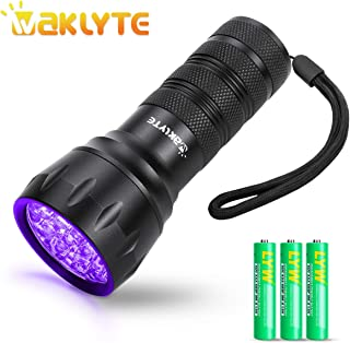 Waklyte Black Light, Mini UV Flashlight, 21 LED 395 nm Ultraviolet Blacklight Detector for Dog Urine, Pet Stains and Bed Bug (Battery Included)