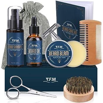 Y.F.M Kit de Cuidado de Barba para Hombres 8 en 1, Cuidado Barba - Champú, Aceite, Bálsamo