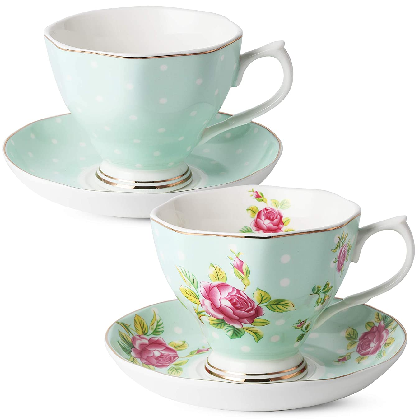 BT?T- Floral Tea Cups and Saucers, Set of 2 (Green - 8 oz) with Gold Trim and Gift Box, Coffee Cups, Floral Tea Cup Set, British Tea Cups, Porcelain Tea Set, Tea Sets for Women, Latte Cups
