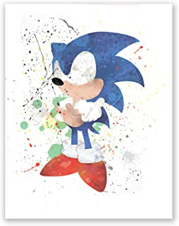 Super Sonic Adventure Hedgehog Poster - Decor Painting Paper for Boys – Classic Game Print - Nursery Art –- Wall Party Print (8x10)